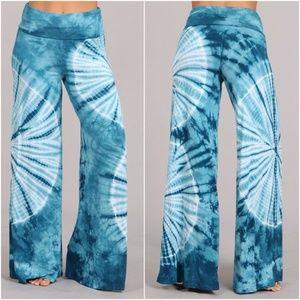 blue Tie dye wide leg palazzo pants